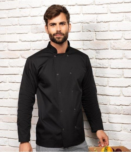 PR665 Premier Unisex Long Sleeve Stud Front Chef's Jacket