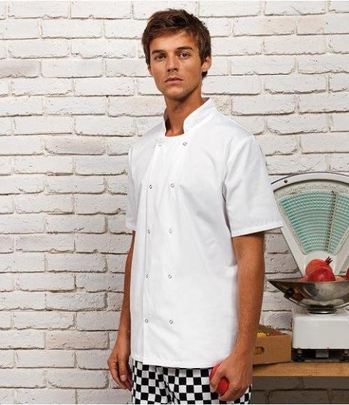PR664 Premier Unisex Short Sleeve Stud Front Chef's Jacket