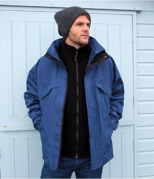 RS68 Result 3-in-1 Waterproof Zip and Clip Fleece Lined Jacket