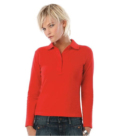 B&C Ladies Safran Pure Long Sleeve Cotton Pique Polo Shirt