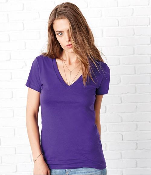Bella Jersey Deep V Neck T-Shirt