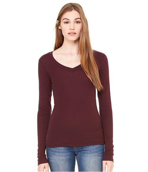 Bella Sheer Rib Long Sleeve V Neck T-Shirt