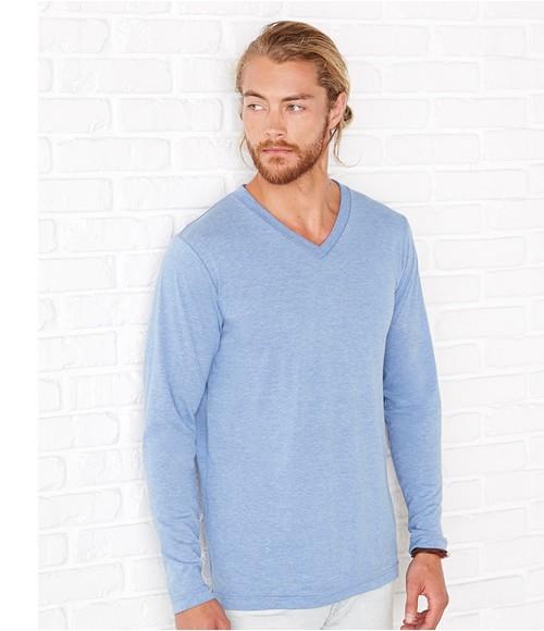 Canvas Triblend Long Sleeve V Neck T-Shirt