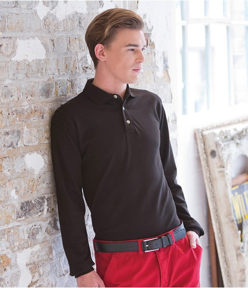 Henbury Long Sleeve Classic Cotton Pique Polo Shirt
