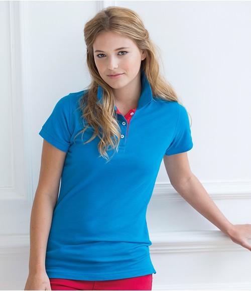 Henbury Ladies Contrast 65/35 Pique Polo Shirt