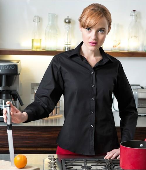 Henbury Ladies Long Sleeve Stretch Shirt