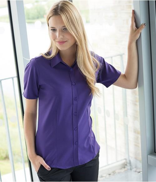Henbury Ladies Short Anti-bac Sleeve Wicking Shirt