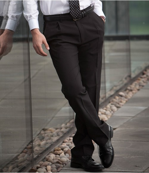 Henbury Single Pleat Polyester Trousers