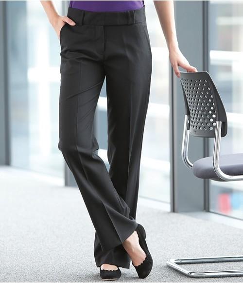 Henbury Ladies Flat Front Bootleg Trousers