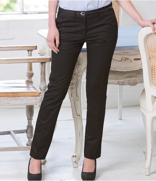 Henbury Ladies 65/35 Flat Fronted Chino Trousers