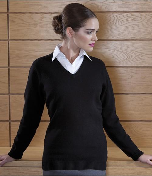 Henbury Ladies Lambswool V Neck Sweater