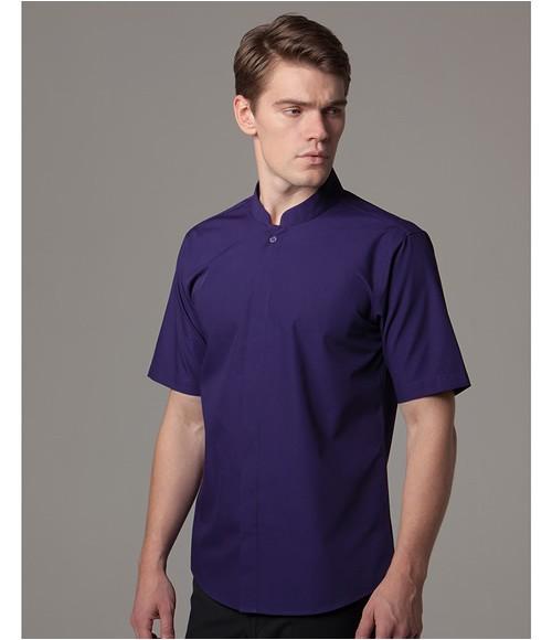 Kustom Kit Short Sleeve Mandarin Collar Shirt