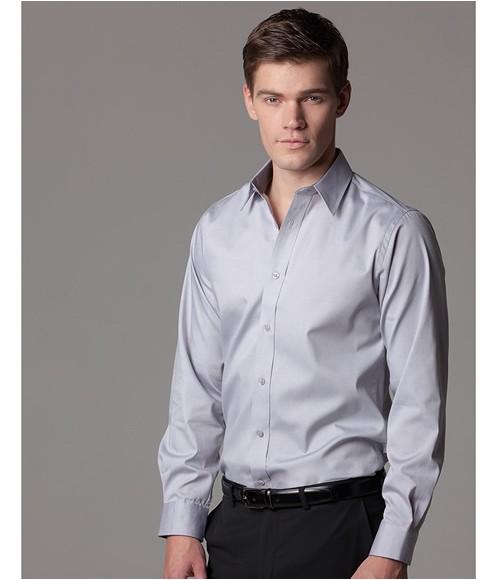 K189 Kustom Kit Premium Contrast Long Sleeve Tailored Oxford Shirt