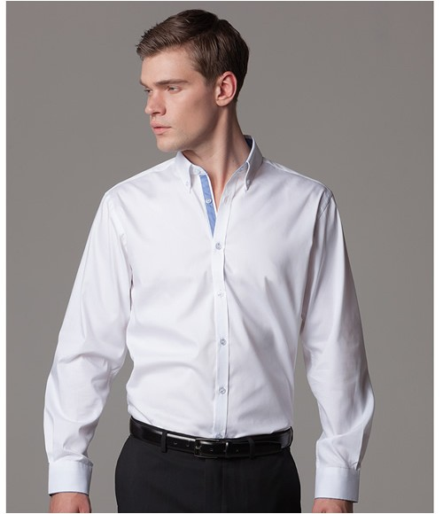 K190 Kustom Kit Premium Long Sleeve Contrast Tailored Oxford Shirt