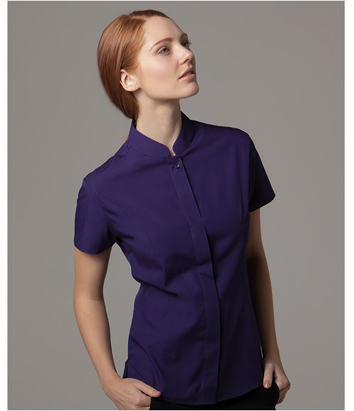 Kustom Kit Ladies Short Sleeve Mandarin Collar Shirt