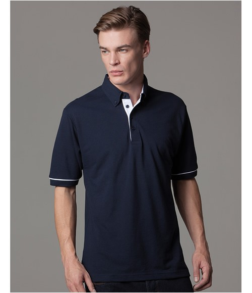 K449 Kustom Kit Button Down Collar Contrast Pique Polo Shirt