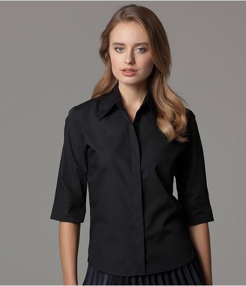 K715 Kustom Kit Ladies 3/4 Sleeve Tailored Continental Shirt