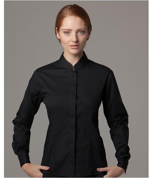 Kustom Kit Bargear  Ladies Long Sleeve Mandarin Collar Shirt