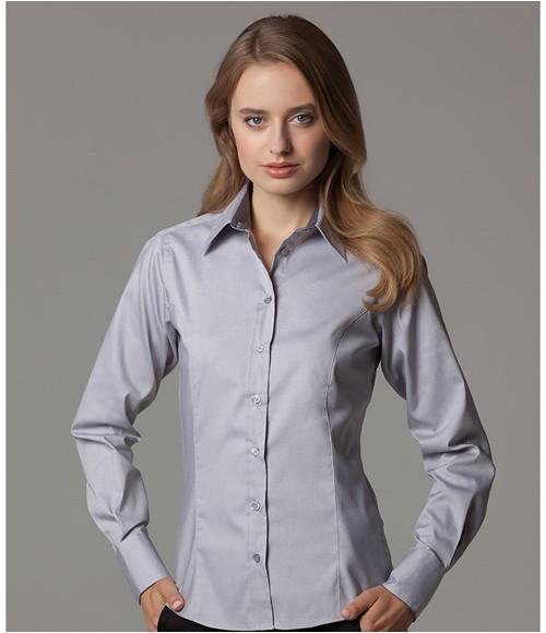 K789 Kustom Kit Ladies Premium Long Sleeve Contrast Tailored Oxford Shirt