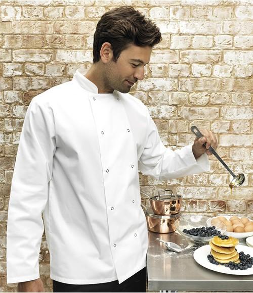 Premier Unisex Long Sleeve Stud Front Chefs Jacket