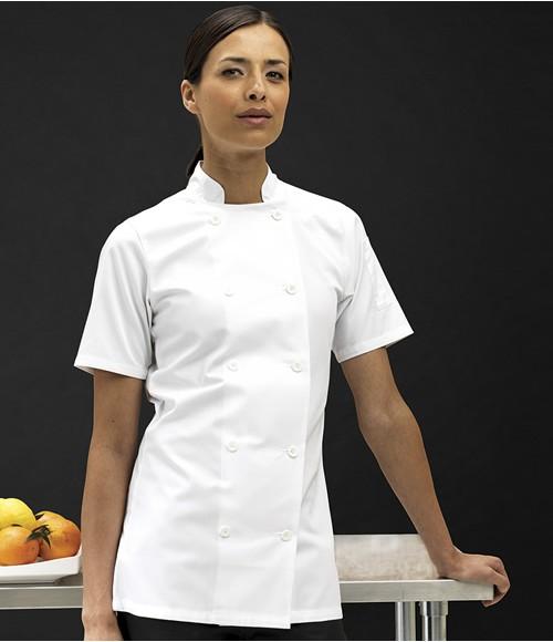Premier Ladies Short Sleeve Chef's Jacket