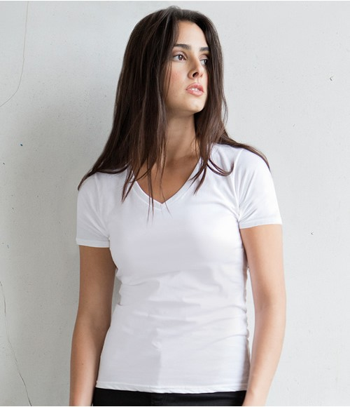 Skinnifit The Feel Good V Neck Stretch T-Shirt