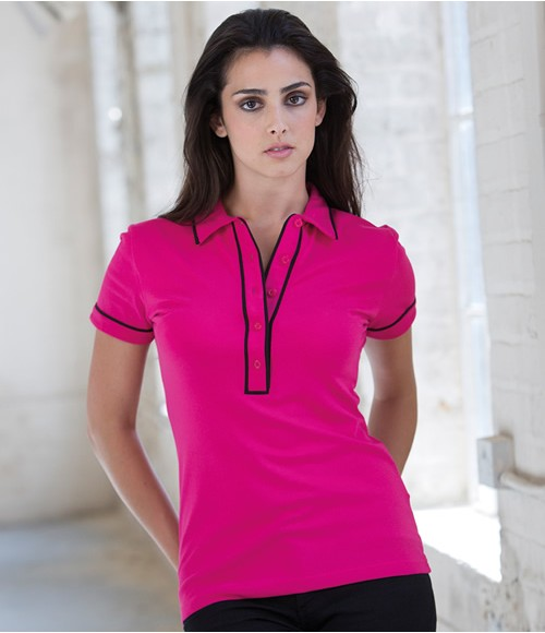 Skinnifit Ladies Contrast Piped Polo Shirt