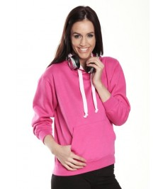 Contrast Hooded Top with Ipod Phone Pocket
