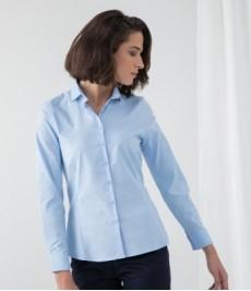 Henbury Ladies Long Sleeve Stretch Poplin Shirt-Blue