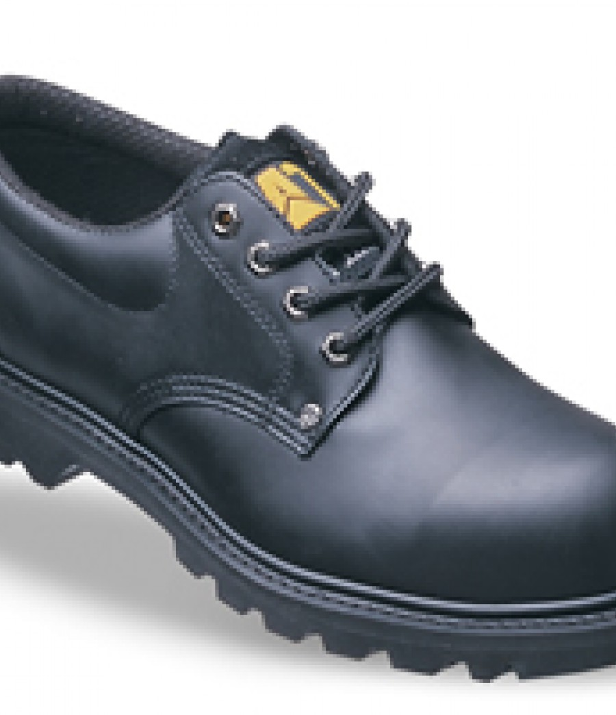Caterpillar 7035 Rig Black Full Grain Leather Safety Shoes With Rubber Sole 7035.