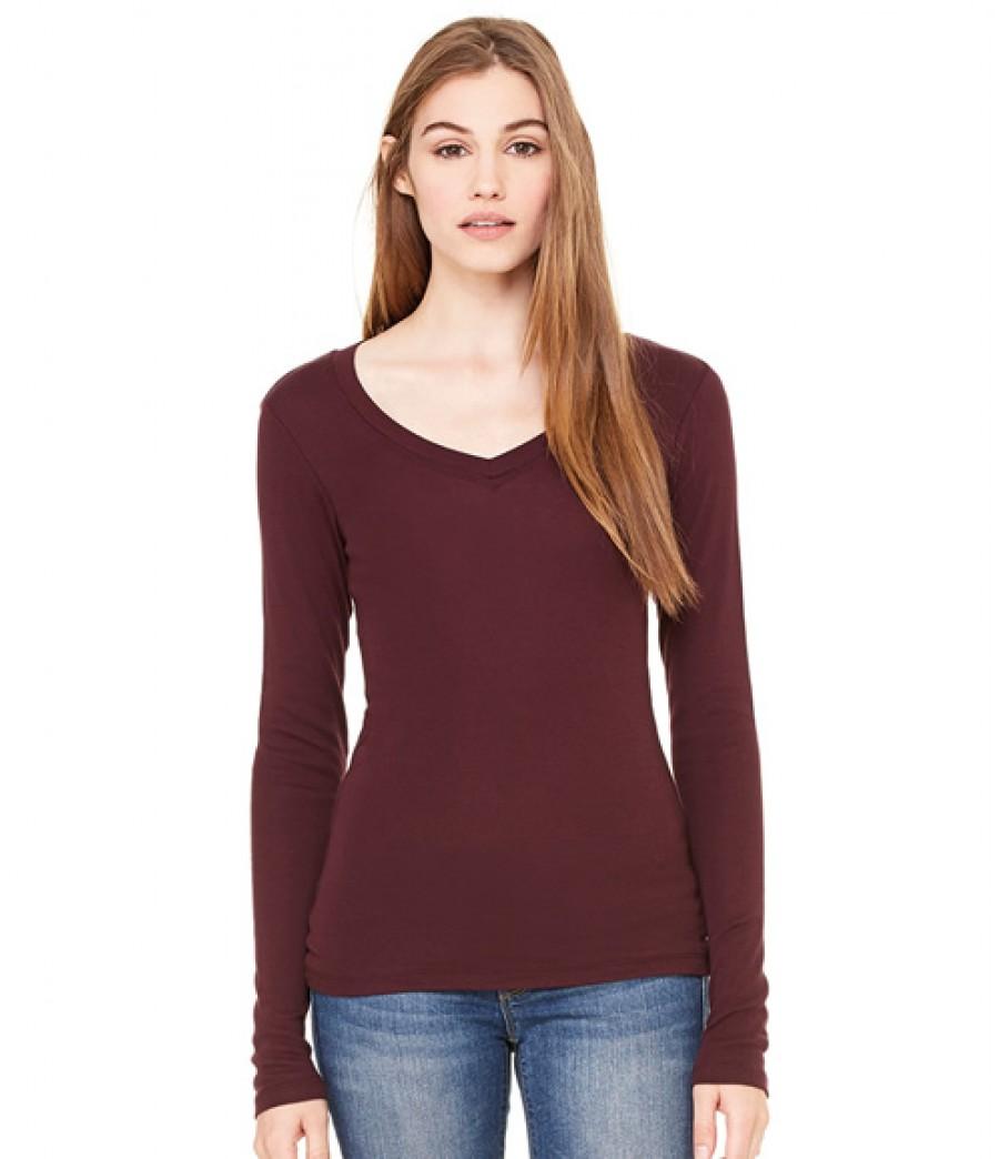 Bella sheer rib long sleeve v neck t shirt personalised for Mesh long sleeve t shirt